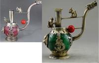 ingrosso cane di giada-Da collezione Decorato Old lavoro manuale Jade Tibet Silver Dragon Dog fumo tubo gioielli regalo di Natale