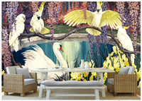 Wholesale High End Oil Painting - High end Custom 3d photo wallpaper murals wall paper Pastoral Retro Tropical Rainforest Three Parrot Oil Painting background wall home decor