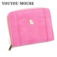 Wholesale Womens Scrubs - YOUYOU MOUSE Fashion New Style Womens Wallets Scrub PU Leather Splicing Small Wallet Students Zip Short 2 Fold Card Holder Purse