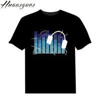 Wholesale T Shirts Led Dj - Wholesale- Factory Sale Sound Activated LED T Shirt Light Up and down Flashing Equalizer EL T-Shirt Men for Rock Disco Party DJ T shirt