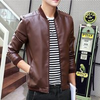 Wholesale Slim Mens Biker Jacket - Wholesale- MCCKLE Fashion Mens PU Leather Jacket Coat Slim Fit Motorcycle For Man Stand Collar Fashion Leather Biker Parka Outwear