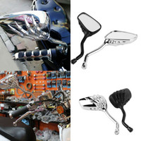 Wholesale Motorcycle Rear View - 2X Universal Motorcycle Chrome SKELETON Skull HAND Claw Side Rear View Mirrors 8mm to 10mm MOT_50T