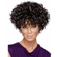 Xt798 Beliebte Natural Black Beyonce Frisur Frauen Haar Leicht Welle 14 Zoll Kurze Lockige Perücken Volle Seite Pony Synthetische Welliges Haar Medium