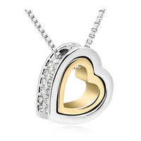 Wholesale Love Chains Jewellery - Heart Necklace Women Silver And Gold Color Jewelry Crystal Necklaces Pendants Mother's Day Gift 2017 Fashion Jewellery For Girl