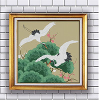 Wholesale Crane Cross Stitch - Flying crane painting counted printed on fabric DMC 11CT 14CT kits Cross Stitch embroidery needlework Sets