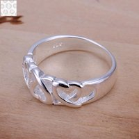 Wholesale Hot Stamp Plate - R090 925 Stamped silver plated jewelry Hot sell new design finger ring for lady