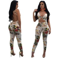 Wholesale V Neck Cocktail Jumpsuit - Hot Fashion Sexy Deep V Neck Women Jumpsuits Rompers Backless Hollow Out Bandage Bodysuit Printed Playsuit Cocktail Party Clubwear