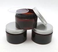 Wholesale Wholesale 4oz Glass Bottles - 20 x 120g Amber PET Cream Jar 4oz Cream Bottle with silver aluminum lids and Inner Pad