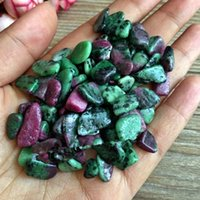 Wholesale Loose Beads China - 50g Red Green Zoisite Coin Shape Loose Beads DIY Stone Accessories Suitable For Handmade Jewelry Design