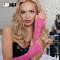 Wholesale Mesh Net Gloves - Wholesale- Hot 1 Pair Womens Sexy Sheer Fingerless Socking Net Lace Party Gloves Thin Mesh Fishnet Elastic Half Elbow Length 11 Color