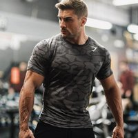Wholesale t thermal - Men Fitness Sport Compression Base Layers Under Tops Shirts Thermal Tees Sport Camouflage t shirts for men