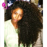 Wholesale Hair Afro Wig - 150% density mongolian kinky curly front lace wig unprocessed glueless virgin human hair afro kinky curly lace front wig with baby hair