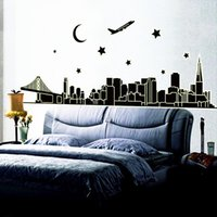 Wholesale Luminous Wall Stickers - Luminous Dubai Pvc Wall Stickers Bedroom Silhouette Living Room Home Decor Removable Wall Decals To Stick On The Wall