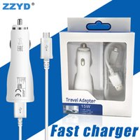 Wholesale cable car kit - ZZYD For Samsung Note5 S8 S7 Fast Car Charger Kit 1.5M Micro Cable 5V 2A Quick Charging EU US Adapter