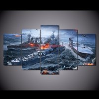 5 шт / комплект в рамке HD печатный мир кораблей Wargaming Picture Wall Art Canvas Печать Декор Плакат Картина маслом холста