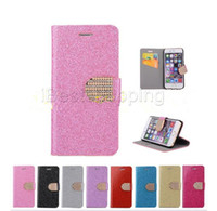 Wholesale glitter flip - Glitter Bling Crystal Diamond Flip PU Leather Wallet Case For iPhone S Plus S SE Stand Holder Case