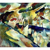 pinturas a óleo venda por atacado-Arte abstrata moderna Wassily Kandinsky pinturas a óleo Canvas Paisagem com chuva pintados à mão decoração da parede