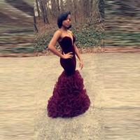 sereia querida vestido de baile querida venda por atacado-Personalizado Vermelho Escuro Prom Vestido Querida Até O Chão Ruffle Veludo Sereia Borgonha Vestidos de Festa Vestidos De Graduacion