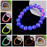 Wholesale Glass Gemstone Beads - Multicolor 10mm Glass Gemstone Beads Bracelet Original Starry Outer Space Universe Colorful Stretchable Yoga Bracelets For Women