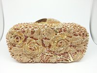 Wholesale Crystal Rose Evening Handbag - Wholesale- Gift Box Ladies Evening Party Golden Flower Clutch Bag Crystal Diamond Vintage Handbags Wedding Rose Bags Metal Clutches Purse