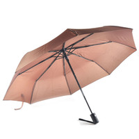 Wholesale Wholesale Ladies Umbrellas - New arrive Gentles Ladies Fully-automatic Aluminium Alloy fiberglass strong Frame Three Folding compact big rain umbrella 0703041