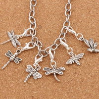 Bee Libélula encantos Coração com ganchos de lagosta flutuante 120pcs / lot 6Style Antique Silver Charm for Glass Living Memory Locket CM25