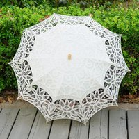 Wholesale Blue Lace Parasol - Lace Parasol Umbrella Handmade Wedding Umbrellas Lace Cotton Embroidery Bridal Umbrella Embroidered Lace Umbrellas 3 Colors OOA2889