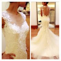 Wholesale Coloured Organza Wedding Dress - Free Shipping 2017 Ivory Colour Vestidos De Noiva Lace Applique Mermaid Wedding Dresses Vintage Bridal Gown Chapel Train