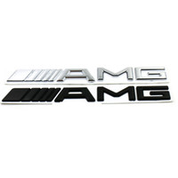 mercedes amg logo al por mayor-3D ABS Car Logo 3M AMG Letter Badge Sticker Para Mercedes MB CL GL SL ML A SLK B C E S Clase Plata Negro de Alta calidad