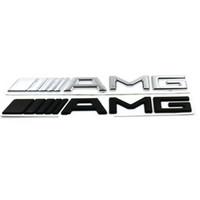 autocollants achat en gros de-3D ABS Logo de voiture 3M AMG Lettre Badge Autocollant Pour Mercedes MB CL GL SL ML Une SLK B C E Classe S Noir Argent Haute qualité