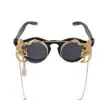 Wholesale monkey frame - New brand Fashion Design metal Retro Leopard frame metal Gold Monkey Baroque sunglasses Luxury Sun Beach Metal Chain pearl round glasses wom