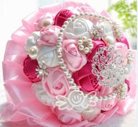 Wholesale Rose Diamond Brooch - Luxury Crystals Pearls Brooches Bridal Wedding Bouquets Pink Rose Lace Diamond Bride Holding Wedding Bouquet Flowers Favors