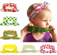 Wholesale Knotted Turban Style Headbands - New style fruit print Headbands Cotton Girl Baby Bowknot Flower Turban Twist Head Wrap Twisted Knot Soft Hair Band Kids Headbands Bandanas