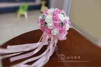 Wholesale Cheap Silk Purple Bridesmaids Bouquets - 2016 New Wedding Bouquet Crystals Pearls Silk Rose Artificial Decoration Pink Purple Red Cheap Bride Holding Bridesmaid Flowers Hot
