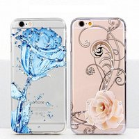 Wholesale Wholesale Cell Phone 3d Rhinestones - hot sale cell phone case ultra thin diamond rhinestone 3d embossed color printing flower tpu case for iphone 7 7s plus 6 6s plus