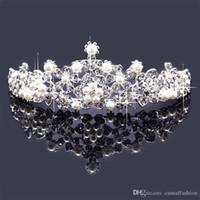 hochwertige köder kronen großhandel-Top Qualität Perle Königin Krone Brautschmuck Haarbänder Für Hochzeit Pageant Party Brautschmuck Freundin Beste