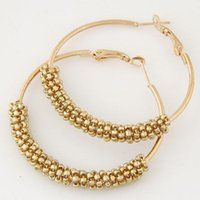 Wholesale beads for hoop earrings - Bohemian Beads Hoop Earrings for Women Jewelry Fashion Gold Color Round Brincos Boucle d'oreille 2017 New Big Orecchini Bijoux