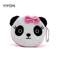 Wholesale Purses For Kids - Wholesale- New 2016 Hot Sale Kawaii Cartoon Panda  SquirrelChildren Plush Coin Purse Zip Change Purse Wallet Kids Girl Women For Gift