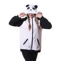 Wholesale adult fleece jacket resale online - Unisex Adult Animal Cosplay Hoodie Zip Closure Sweatshirts jacket with Side Pockets Panda
