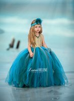 Wholesale Lovely Baby Model - 2017 Adorable Hunter Gold Sequined Flower Girl Dresses Tulle Ball Gown Lovely Pink Baby Toddler Party Little Girls Pageant Dresses