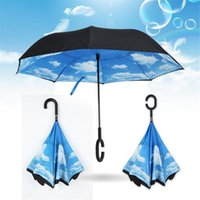 Wholesale New Windproof Reverse Folding Double Layer Inverted Chuva Umbrella Self Stand Inside Out Rain Protection C Hook Hands For Car