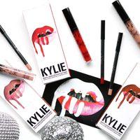 Wholesale Lipstick Pens Yellow - New Stocking!!Kylie Lip Kit by Kylie jenner Lip gloss lipstick 28 colors non-stick cup line pen matte lipsticks 1set=1lipstick+1lipliner