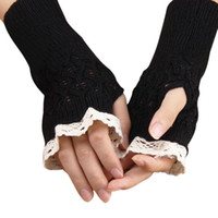 Wholesale Gloves Women Lace - Wholesale- women Lace Gloves Knitted Warm Glove Soft Knitted girl Winter Gloves Female Glove Knitting women hand accessory 4 colours 24CM