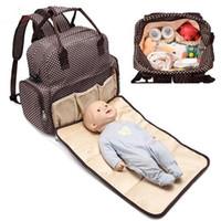 bolinhas mochila para o bebê venda por atacado-Múmia Maternidade Fralda Fralda Mochila Saco de Grande Capacidade Infantil Polka Dot Saco Do Bebê Bolsa de Viagem Ao Ar Livre Pacote