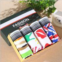 Wholesale White Pants Boxers - 4pcs lot Men's Underwear Lips Flag Geometric Prints Pants Men Boxer Shorts Underwear Printed Underpants free shipping