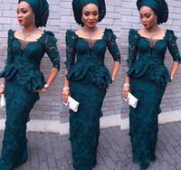 kadınlar için mütevazi gece elbiseleri toptan satış-Lüks Aso Ebi Stil Mütevazı Tam Dantel Abiye Mermaid Juliet Kare Uzun Kollu Peplum Resmi Elbiseler Koyu Yeşil Kadınlar Balo törenlerinde