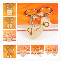 Wholesale Wooden Handmade Cars - Lovely Custom Couple Wooden Keychain Personalized Keychain Handmade Polished DIY Rectangular Square Round Heart Shape as Ideal Gift