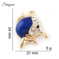 Wholesale Blue Fish Plate - Lovely Colorful Blue Fish Charms Pendants Fit Bracelet Jewelry Making Mother Gift 24*21mm Silver Gold Plated