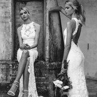 Wholesale Keyhole Front Wedding Dress - 2017 Sexy Boho Beach Lace Wedding Dresses High Neck Mermaid Floor Length Keyhole Open Back High Split Slit Side Bridal Gowns