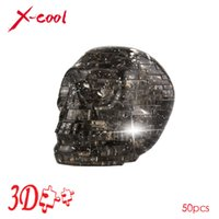 Wholesale Wholesale Statues Crystal - Wholesale- XC9056A 3D Crystal Puzzle with Flash Light DIY Model Buliding Toy for Children Home Decoration - Skull Free shipping